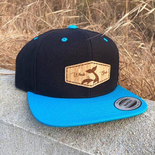 Bamboo Black Teal Whale sacs Hat