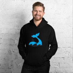 Whale Sac logo unisex hoodie black apparel disc golf discgolf