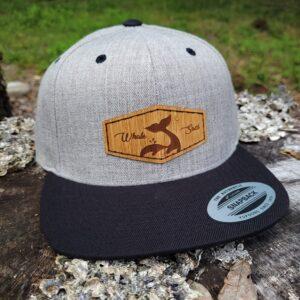 Whale Sacs bamboo hat Flatbill Snapback Light Grey Black cap disc golf discgolf